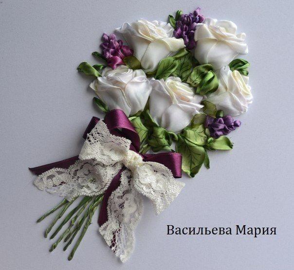 "Мастер-класс по вышивке лентами ""Букет белых роз"""