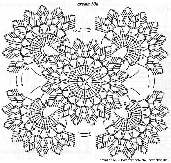Много схем квадратных мотивов крючком 0