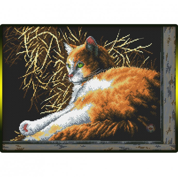 Рыжий кот на черном фоне крестиком