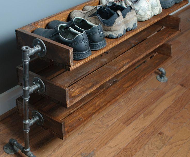 Полочки для обуви из труб: идеи 5
