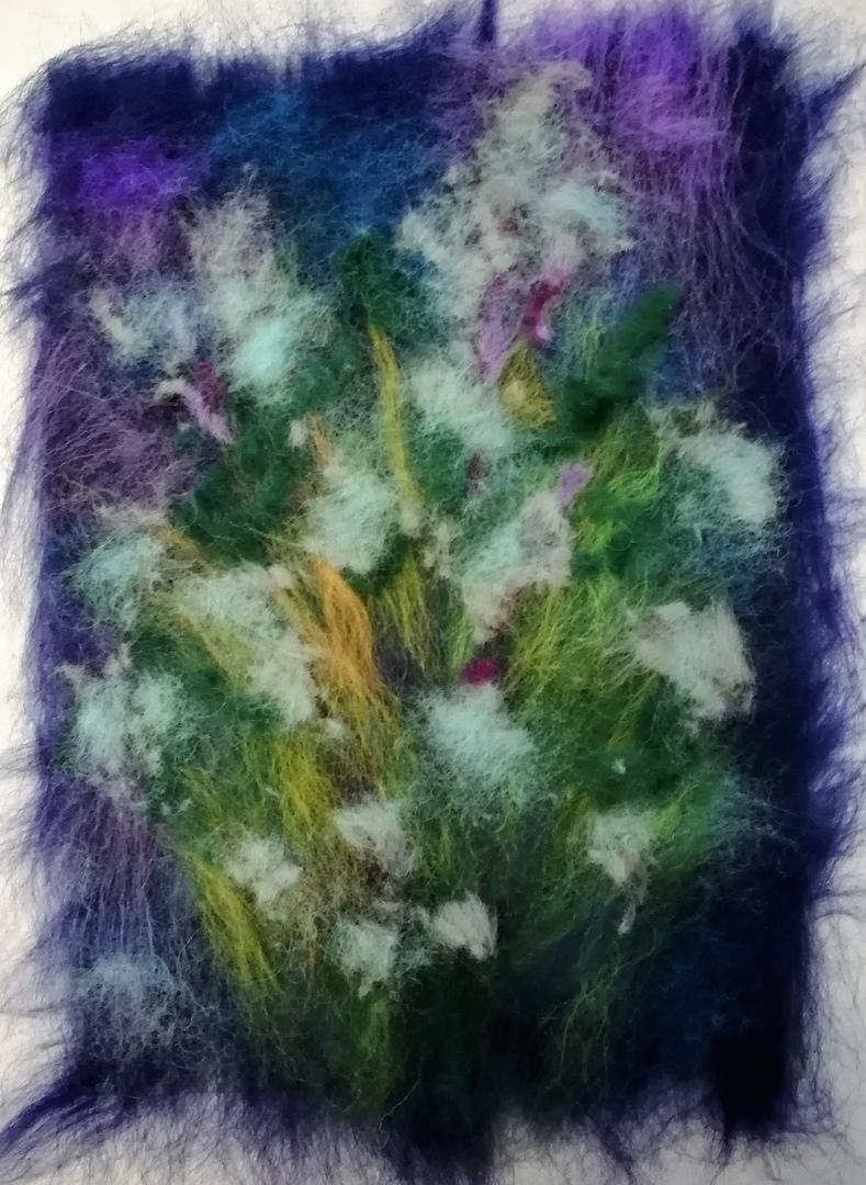 Шерстяная живопись: букет ромашек 10