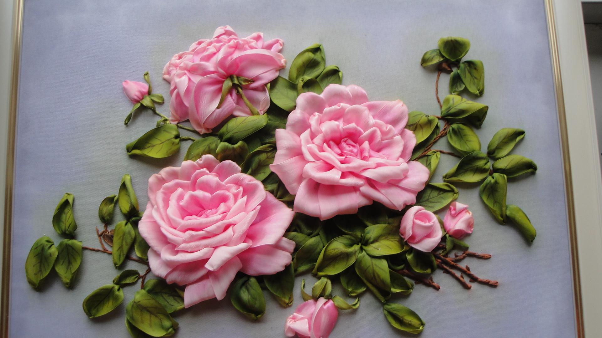 Вышивка лентами картинки розы