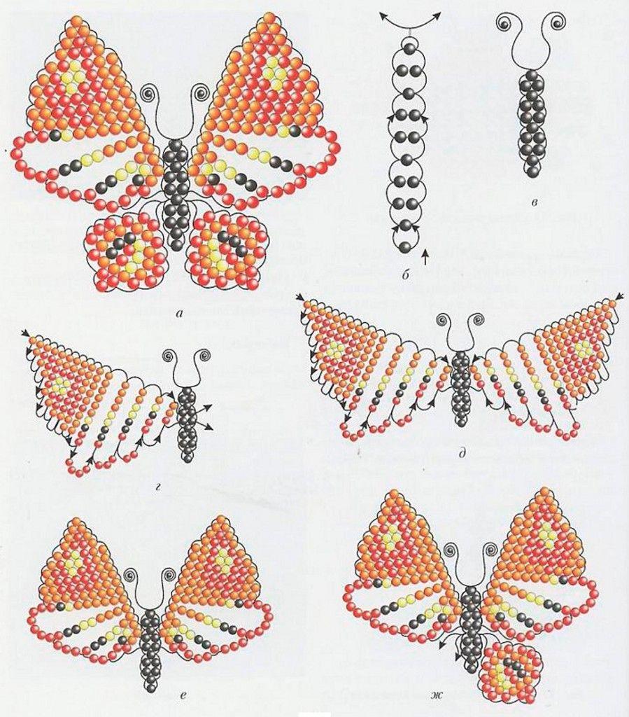 следующий схема из бисера бабочка сыном
