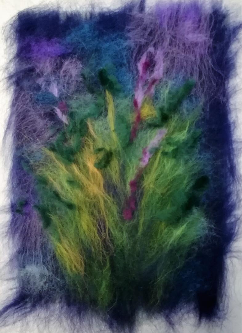 Шерстяная живопись: букет ромашек 9