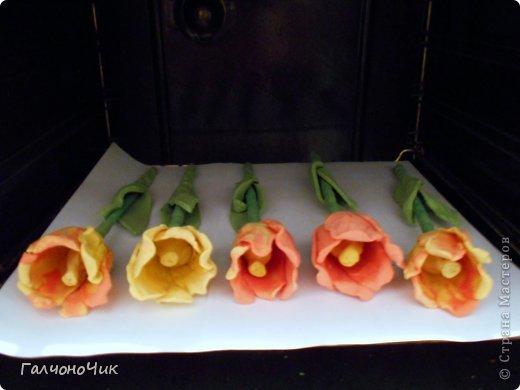 Тюльпаны из солёного теста 8