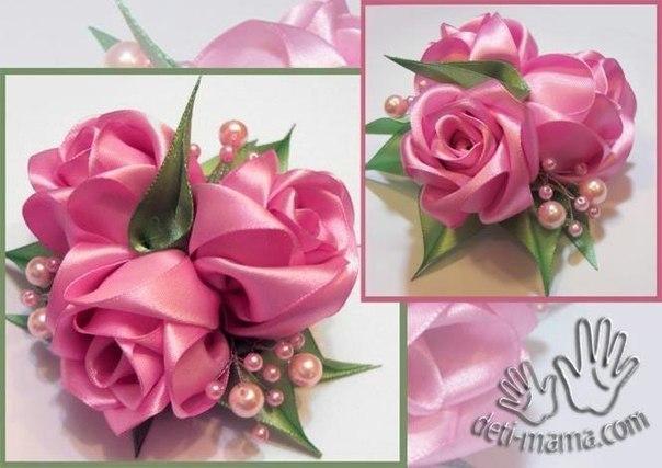 Очень красивая роза из атласных лент 0