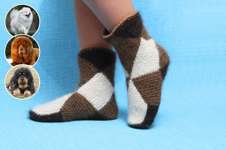 Интересная техника вязания теплых носочков из квадратов 1