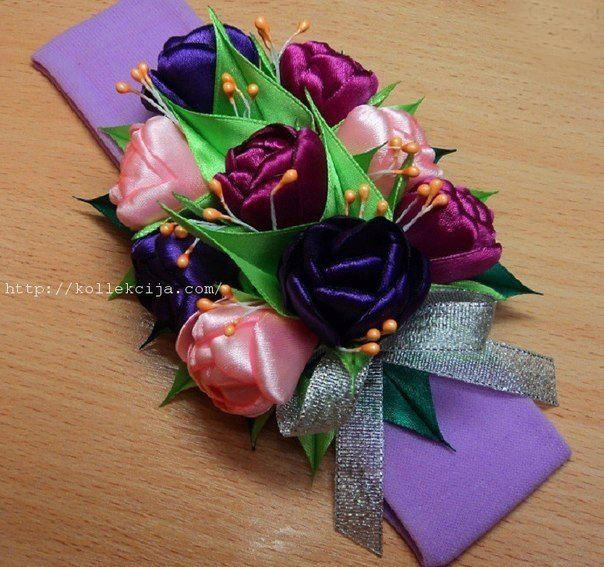 Тюльпаны из атласной ленты: мастер-класс 9