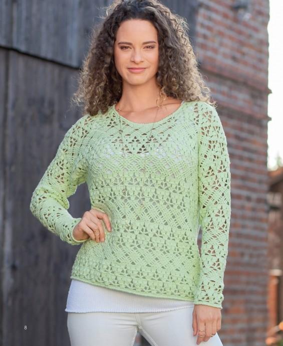 Нежный весенний пуловер крючком