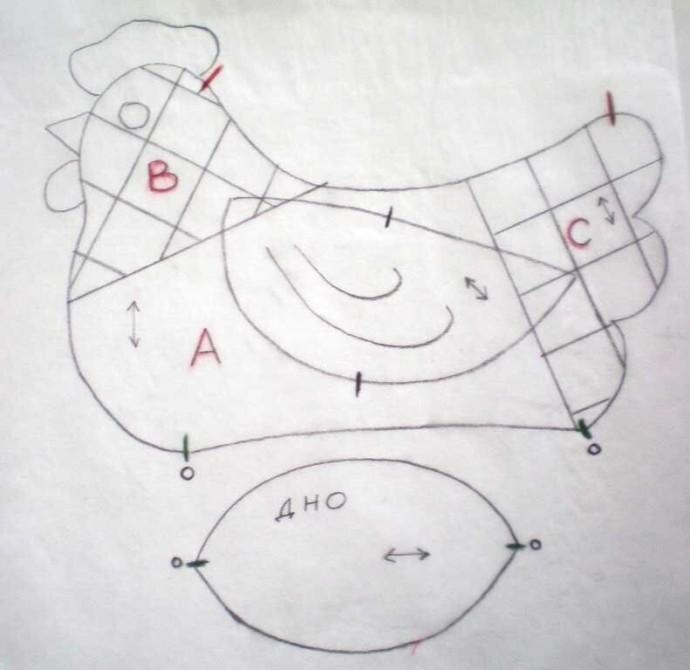 2 выкройки пасхальной интерьерной курочки из ткани