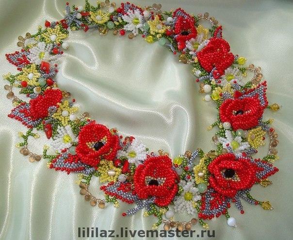 """Яркое колье """"Полевые цветы"""" 1"""