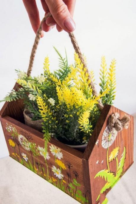 """Ящик для цветов """"Одуванчики и ромашки"""""""