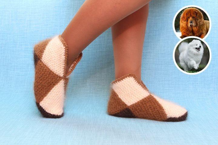 Интересная техника вязания теплых носочков из квадратов 6