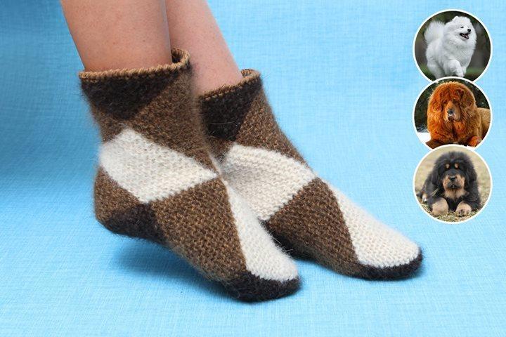 Интересная техника вязания теплых носочков из квадратов 2