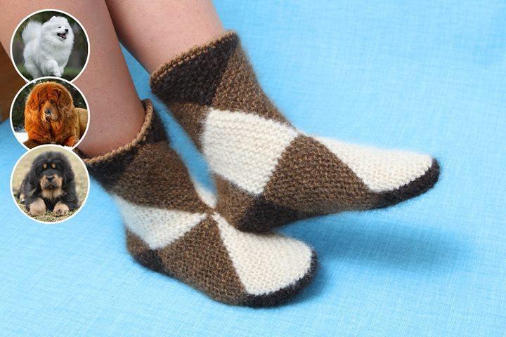 Интересная техника вязания теплых носочков из квадратов 0