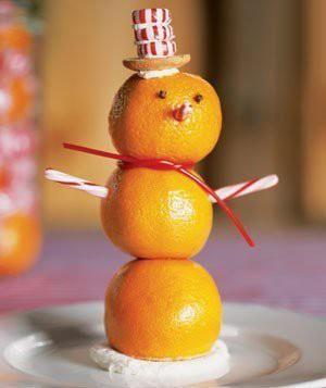 Идеи ароматных снеговиков из апельсинов