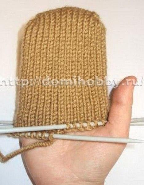 Вязание варежек от кончиков пальцев 6