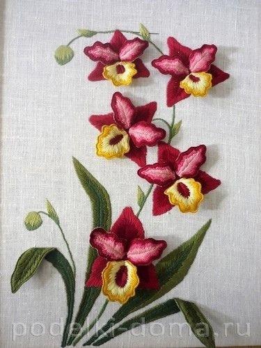 """Объёмная вышивка """"Орхидеи"""""""