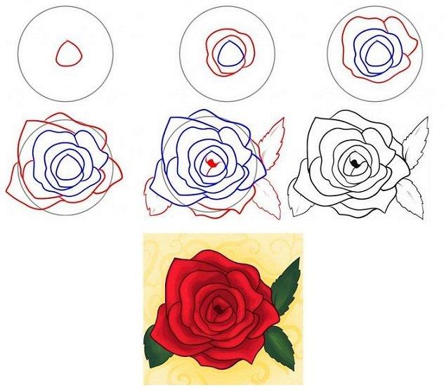рисовать по этапно картинки цветы
