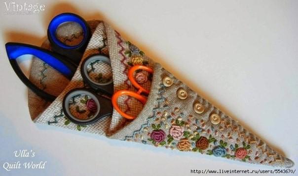 Футляр для набора ножниц с красивой вышивкой