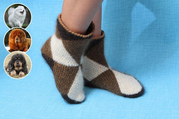 Интересная техника вязания теплых носочков из квадратов 3