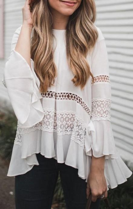 Белые просторные блузки с кружевами в стиле бохо: идеи для творчества