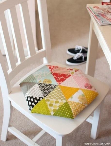 Шестиугольная лоскутная подушка