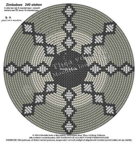 Круглые схемы для жаккарда крючком 8