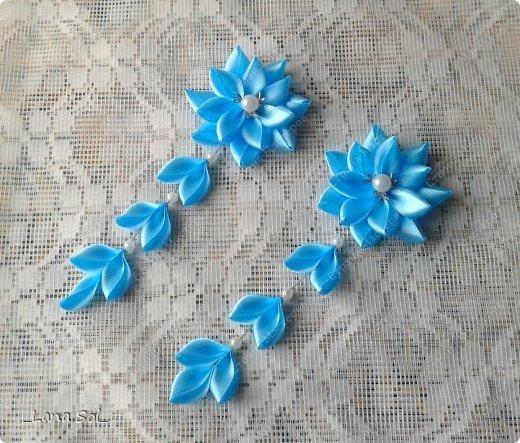 Цветочек с подвесками из атласных ленточек