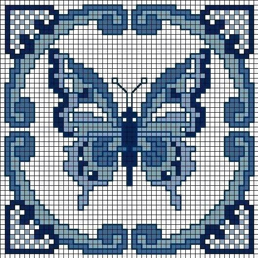 Варианты вышивки в синих тонах