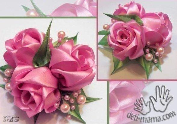 Розы из лент 0
