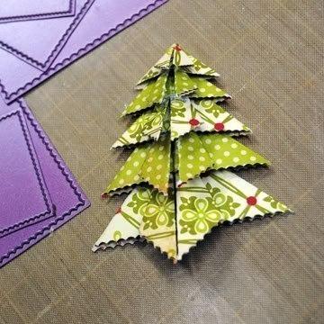 Елочка оригами на новогоднюю открытку, принят приколы