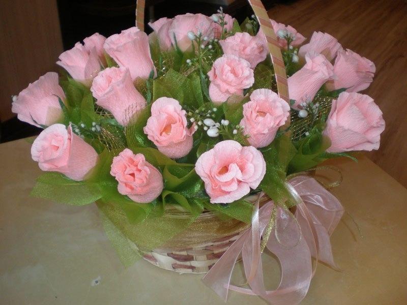 Заказ ижевске, мастер класс букет роз из гофрированной бумаги в корзинке